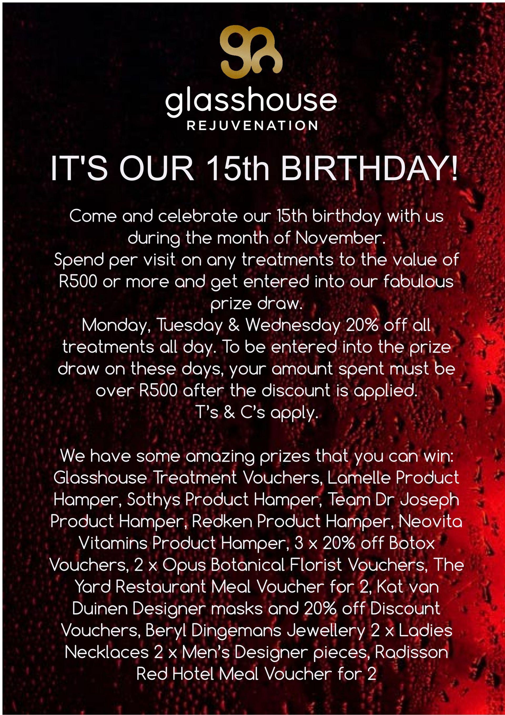 Glasshouse 15th Birthday Specials